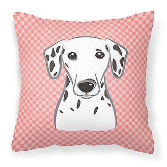 Checkerboard Pink Dalmatian Canvas Fabric Decorative Pillow