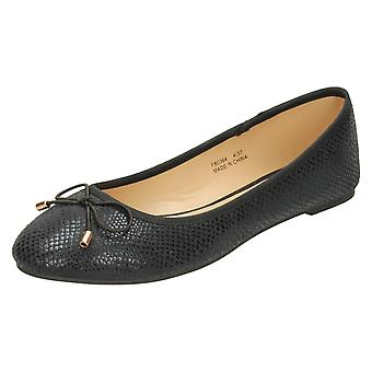 Ladies Spot On Bow Trim Ballerinas F80364 - Black Microfibre - UK Size 6 - EU Size 39 - US Size 8