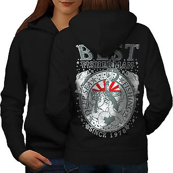 Best Fisherman Vintage Women BlackHoodie Back | Wellcoda