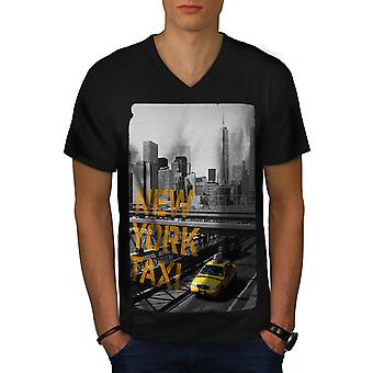 Nowy Jork USA Taxi Men BlackV szyi T-shirt | Wellcoda