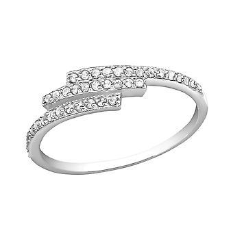 Triple Line - 925 Sterling Silver Jewelled Rings