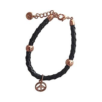Braided Leather Bracelet With Silver Pendant As0079