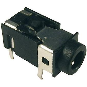3.5 mm audio jack Socket, horizontal mount Number of pins: 4 Stereo Black Cliff FC68126 1 pc(s)