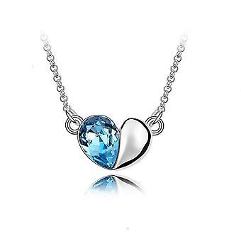 Hemelsblauw ontwerper Love hart Crystal Silver sieraden ketting BG1411