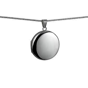 Silver 29mm zwykły okrągły medalion z krawężnika łańcucha 18 cali