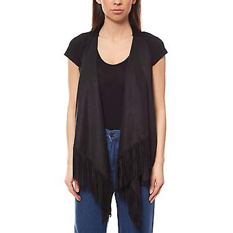 Rick cardona by heine ladies fringed vest black plain