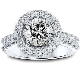 Halo 2 1 / 8ct rond Vintage Diamond Engagement Ring 14K White Gold