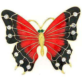 Brooches Store Oversized Black and Red Enamel Crystals Butterfly Brooch