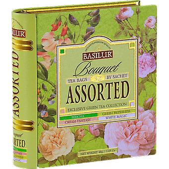 Basilur Tea - Bouquet Assorted Tea Book - Green Tea In Tea Caddy