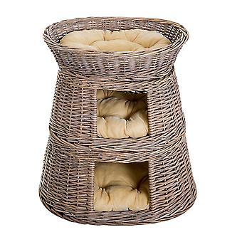PawHut Handmade Wicker Cat Cave Indoor Play House with Cushion, 3-Tier