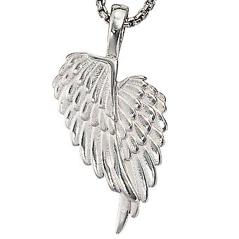 Pendants Angel Wings wings 925 sterling silver rhodium plated partly frosted