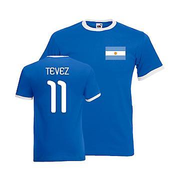 Carlos Tevez Argentina Ringer Tee (blue)
