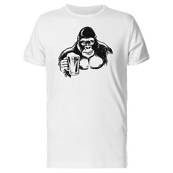 Gorilla With A Beer Mug B&W Tee Men's -Image by Shutterstock