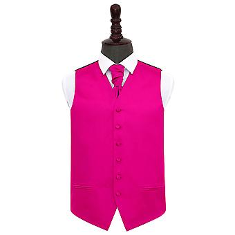 Hot Pink Plain Satin Wedding Waistcoat & Cravat Set