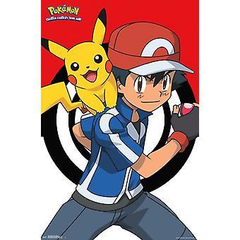 Pokemon - Ash og Pikachu plakat Print