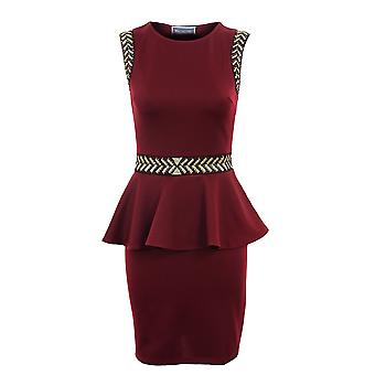 Ladies Sleevless Gold Arrow Pattern Peplum Short Womens Dress
