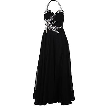 Ladies Floral Jewelled Halter Neck High Low Chiffon Formal Trail Prom Maxi Dress
