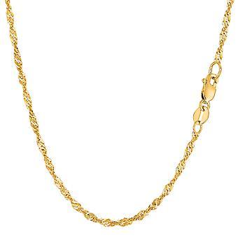 14 k желтое золото Сингапур цепь браслет, 2.1 мм, 10»