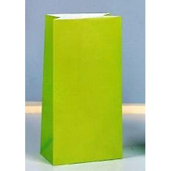 12 Lime Green Paper Party Bags | Kids Party Loot Bags