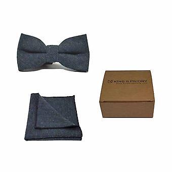 Highland Weave Deep Blue Men's Bow Tie & Pocket Square Set | Boxed