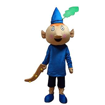 SPOTSOUND red leprechaun mascot, dressed in blue outfit with a hat