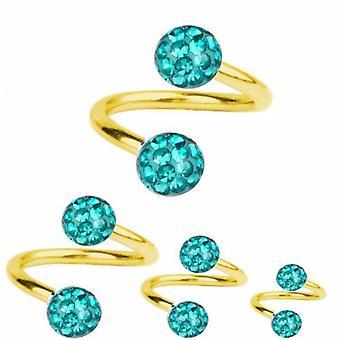 Torção de espiral Piercing titânio chapeado ouro 1,2 mm, Multi cristal bola Aquamarine | 6-12 mm