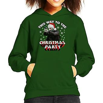 Keanu Reeves This Way To The Christmas Party Kid's Hooded Sweatshirt