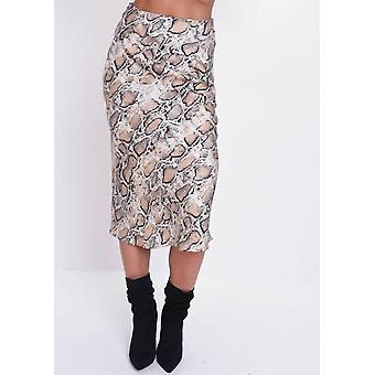 Satin Snake Print High Waisted Midi Skirt Multi