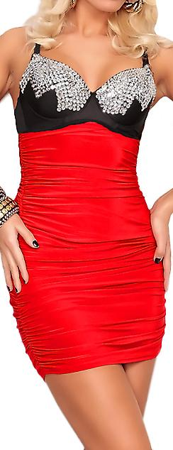 Waooh - Mode - Robe courte ajustée ornée de sequins et perles