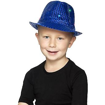 Light Up Sequin Trilby Hat, Blue, with Multi-Function LED Lights
