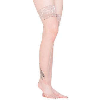 Flesh Sheer Lace Top Stockings
