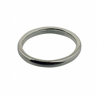 9ct White Gold 2mm plain Court shaped Wedding Ring Size I