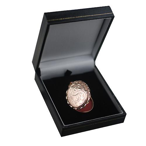 9ct Rose Gold 37x28mm Hand graviert ovalen Medaillon