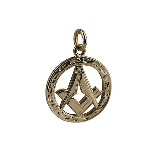 9ct Gold 21mm hand engraved Masonic emblem in a circle Pendant