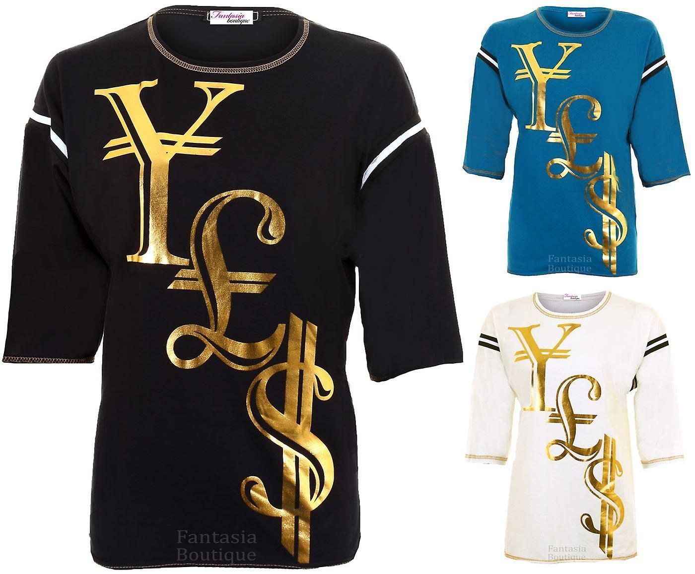 Ladies 3/4 Sleeve Gold Dollar Pound Yen Print T-Shirt Baggy Women's Top