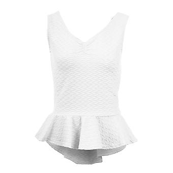 Ladies V Front Back Ribbed Frill Shift High Low Peplum Women's Short Top