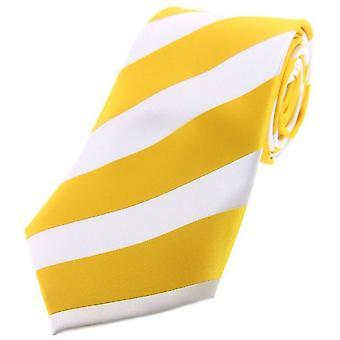 David Van Hagen Bold Stripe Polyester Tie - Gold/White