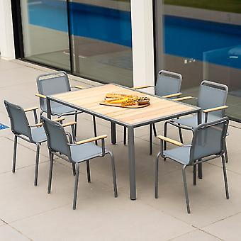 Alexander Rose Fresco 6-Seat Flint Aluminium Dining Set & Roble Table