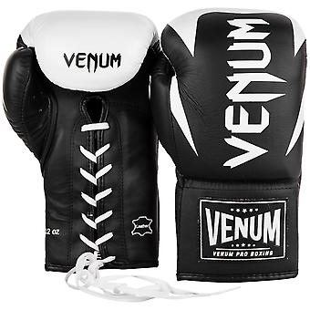 Venum Hammer Pro Lace Up Leather Boxing Gloves - Black/White