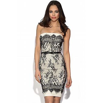 Lace Overlay Bandeau Dress