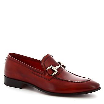 Leonardo Shoes Men's handmade pointy bit loafers in red calf leather