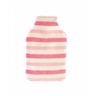 Plush Fleece Cover 2L Hot Water Bottle: Candy Stripes