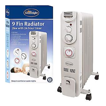 Silentnight 9 Fin 2kW Oil Filled Radiator With Timer 2000 Watt White