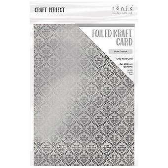 Craft Perfect by Tonic Studios A4 Foiled Craft Card Silver Damask