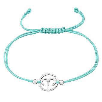 Signe du Zodiaque Bélier - 925 Sterling Argent - Bracelets Corded Cordon De Nylon - W39001X
