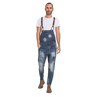 Lazlo mens drop bib distressed denim dungarees