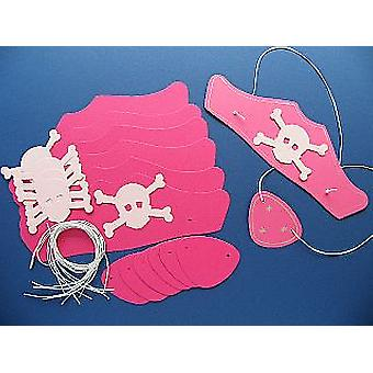SALE - 10 Pink Card Pirate Hats & Patches Kit for Kids Parties & Crafts