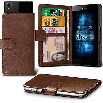 ONX3 Sony Xperia Z4v skórzane Universal Spring zacisk etui portfel z uchwyt gniazdo karty i banknoty kieszeń brązowy