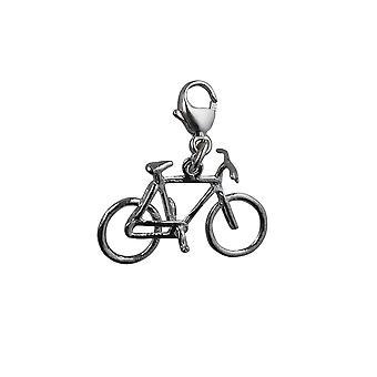Silber 12x20mm Fahrrad Charme mit einem Karabiner-Verschluss