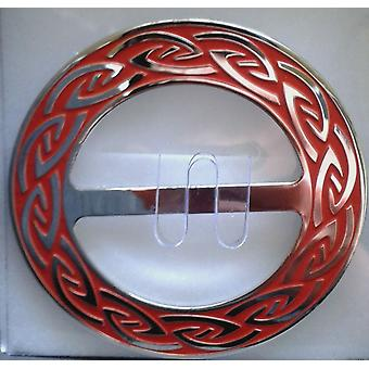 Celtic Annulus Round Red Enamel Scarf Ring